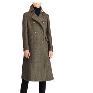 Ralph Lauren Herringbone Wool Blend Military Coat